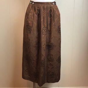 Vintage 80s/90s Graphic Pleated Silk Blend Skirt